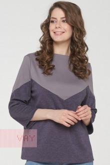Джемпер женский 182-3452 Фемина (Фиолетовый меланж/светло-серый)
