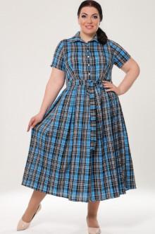 """Платье """"Клетка"""" 1743-090 Грация Стиля (Голубой)"""