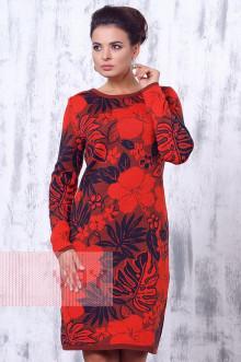 Платье женское 2181 Фемина (Кирпичный/красный мак/мокрый асфальт)